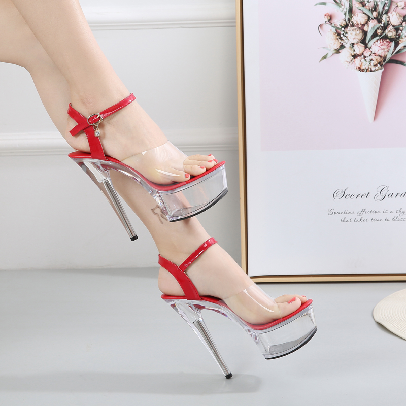Chaussures pour femme sandales d'été sandales spartiates Femmes Plate-Forme D'été Chaussures À Talons Hauts Transparent Stripper Talons chaussures de mariage 2019