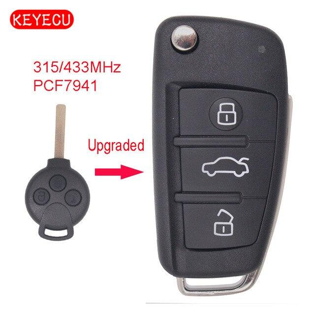 Keyecu обновлен флип удаленной машине брелок 3 Кнопка 315/433 мГц дополнительно PCF7941 для Benz Smart Fortwo 451 2007-2013
