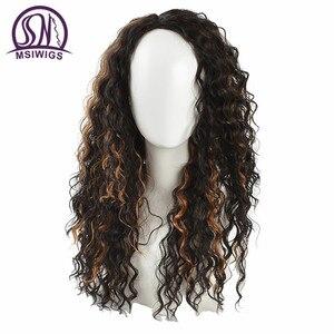 """Image 1 - I """"sa peruka afroamerykanów Ombre kręcone peruki dla kobiet naturalne długie peruki syntetyczne z pasemkami, odporne na ciepło włosy"""