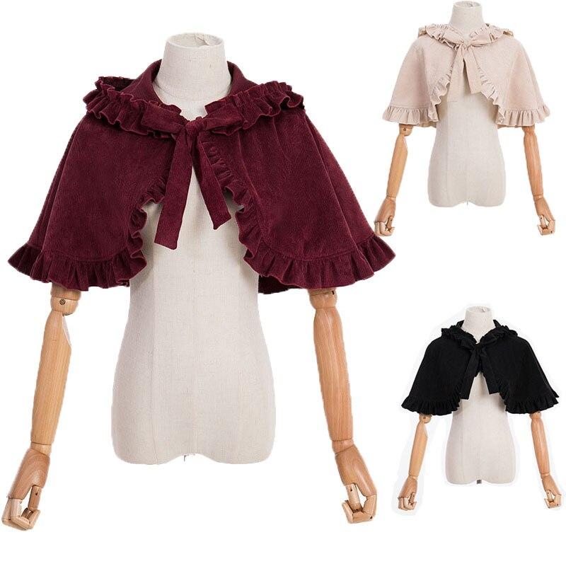 Vintage Mit Kapuze Cape Schal Frauen Herbst Winter Rotkäppchen Kostüm Lolita Kurze Fliege Mantle Mantel Für Mädchen dame