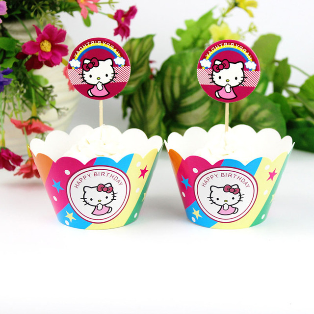 24pcs Hello Kitty Baby Shower Ideas Favors Decorations For Hello