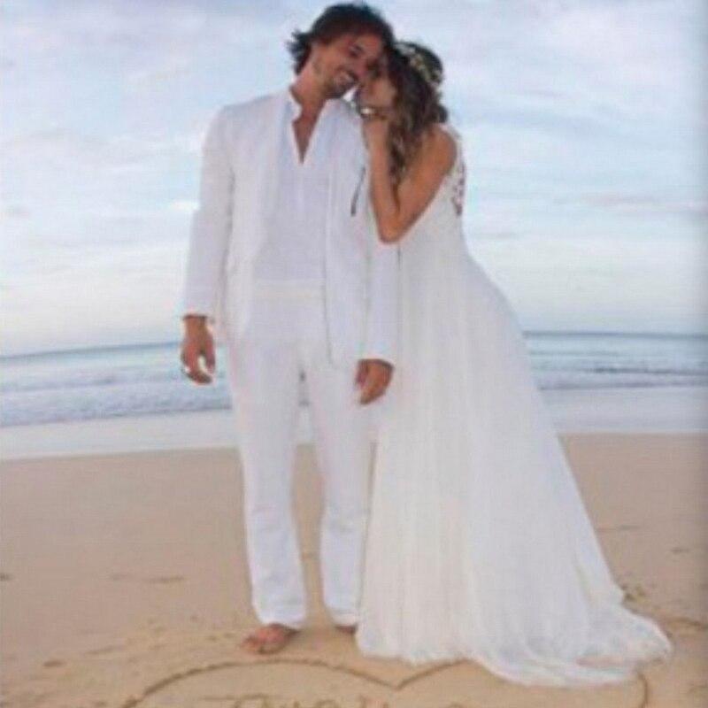 Vestido de boda Backless Atractivo Blanco de Encaje Y Gasa Opacidad Playas 2017