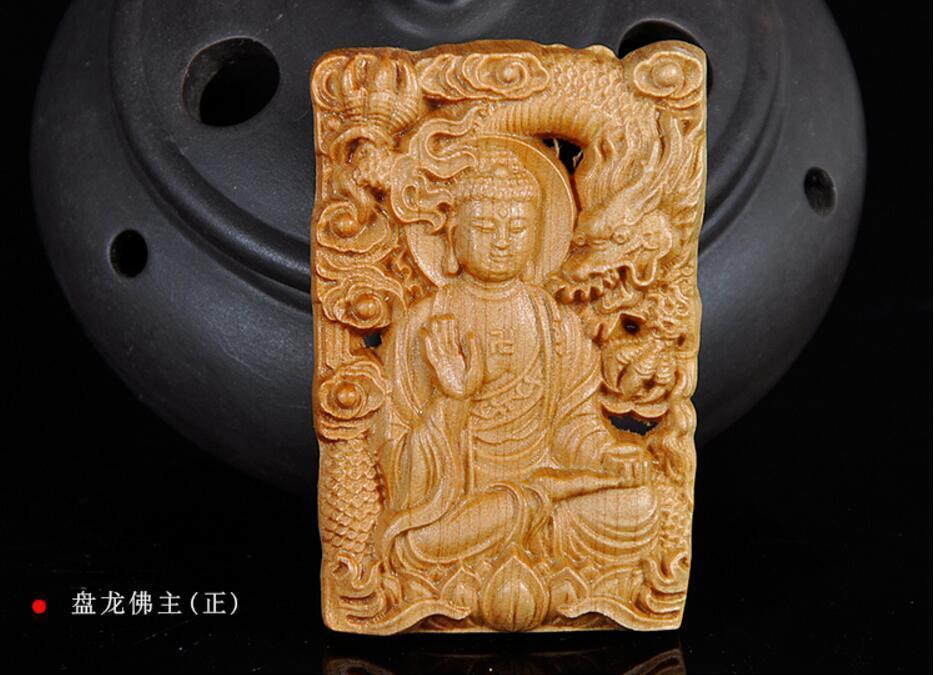 Koraba bijoux fins chinois Taihang falaise cyprès bois sculpté manuel Dragon et Sakyamuni pendentif livraison gratuite