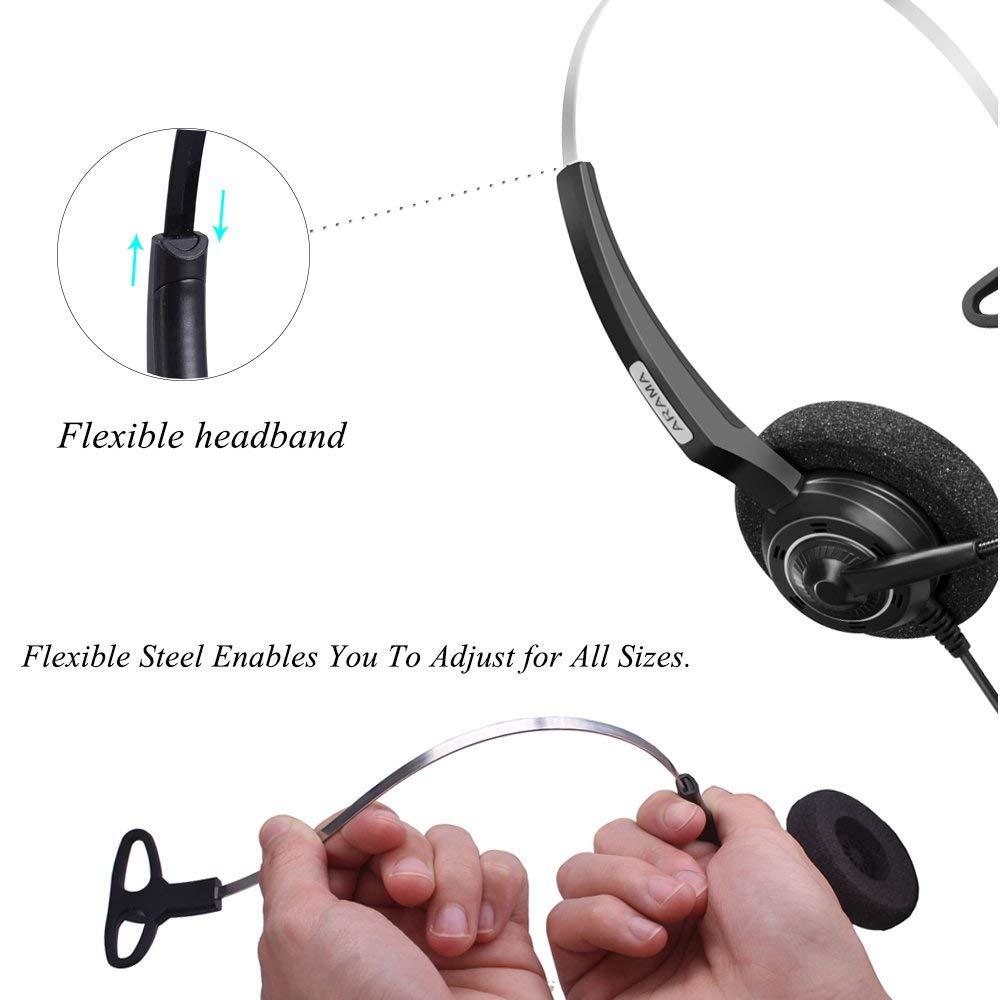 Wantek Arama Cordless Phone Headphones,2.5MM Telephone Headset with Noise Cancelling Boom Mic for Panasonic Dect Phones-Binaural 2