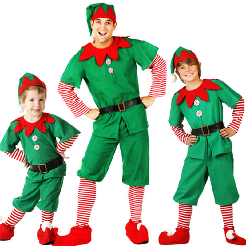 high qualit parent-child Christmas costume Christmas tree cosplay dress Xmas elf Carnival Party family green Christmas clothing