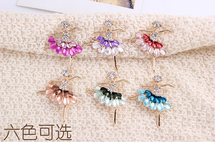 hot sale brooches for women fashion Dress dancing girl Enamel Brooch Rhinestone Crystal kid brooches Christmas gift