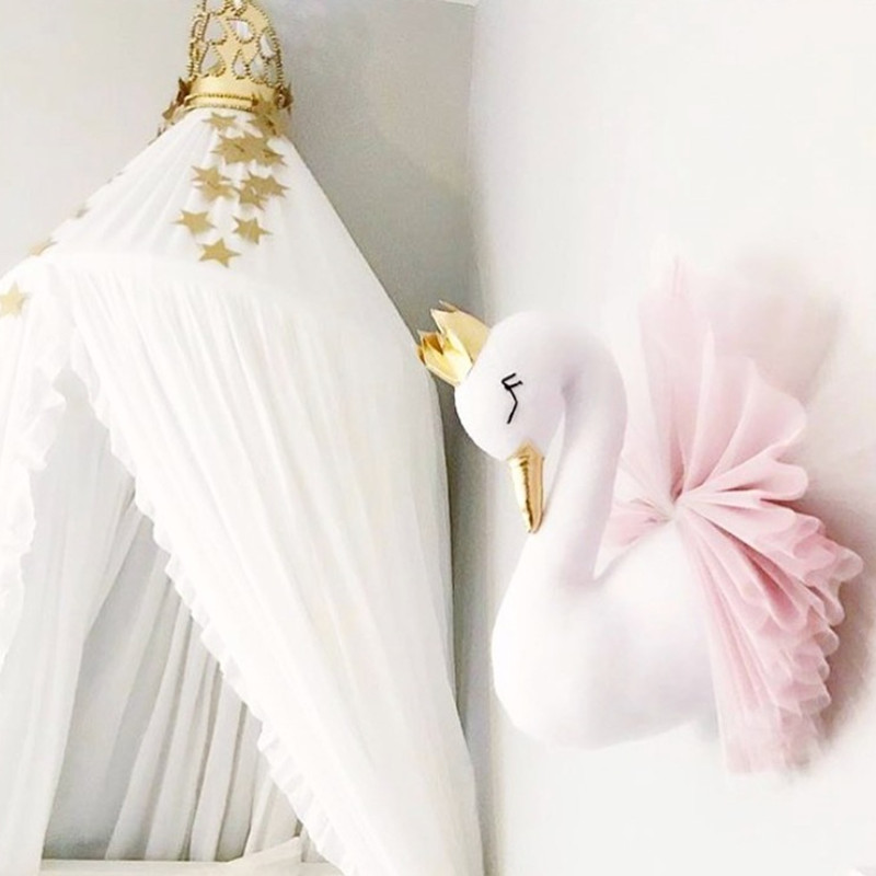 Cute Golden Crown Swan Wall Decor Doll Pink Princess Flamingo Soft Stuffed Toy Animal Head Wall Hanging For Kids Room Baby Gift