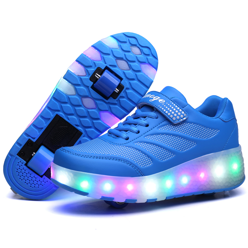 Chrismas Gift 2017 Two Wheels Children Shoes Leather with LED Lighted Breathable Fashion Sport Casual Boy & Girls Sneakers dinoskulls new kids sport shoes children sneakers breathable leather boy running shoes 2018 girls leisure casual shoes
