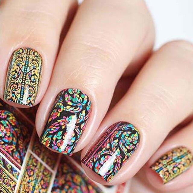 wuf 1 blatt wasser transfer nagel kunst aufkleber arabesque muster temporre tattoo nagel wraps aufkleber wasserzeichen - Muster Fingernagel