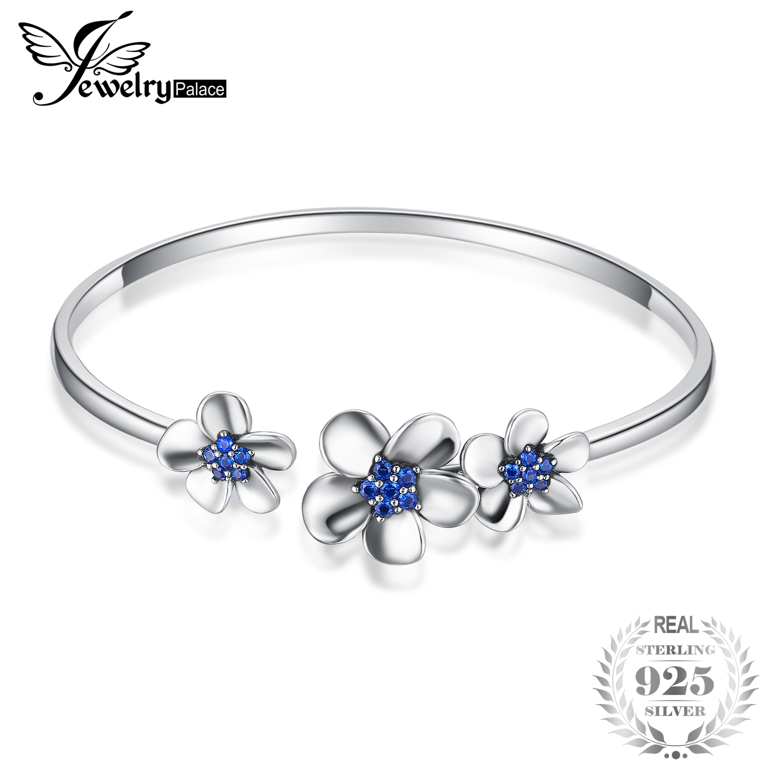 JewelryPalace 3 Sleek Daisy 0.5ct Created Blue Spinal Adjustable Cuff Bracelet 925 Sterling Silver Trendy Open Bangles for Women delicate silver cuff bracelet for women page 3