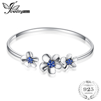 JewelryPalace 3 Sleek Daisy 0.5ct Created Blue Spinal Adjustable Cuff Bracelet 925 Sterling Silver Trendy Open Bangles for Women