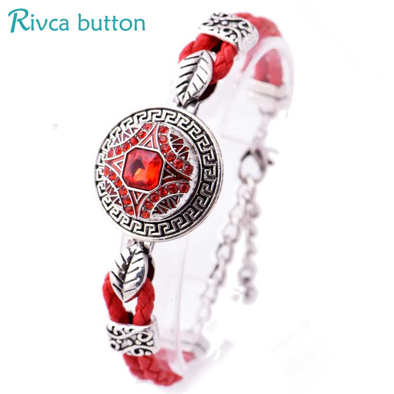 Rivca Snap Button Bracelet&Bangles Jewelry Ancient Silver Plating Magnet Leather Bracelet For women 18mm Snap Button P01052