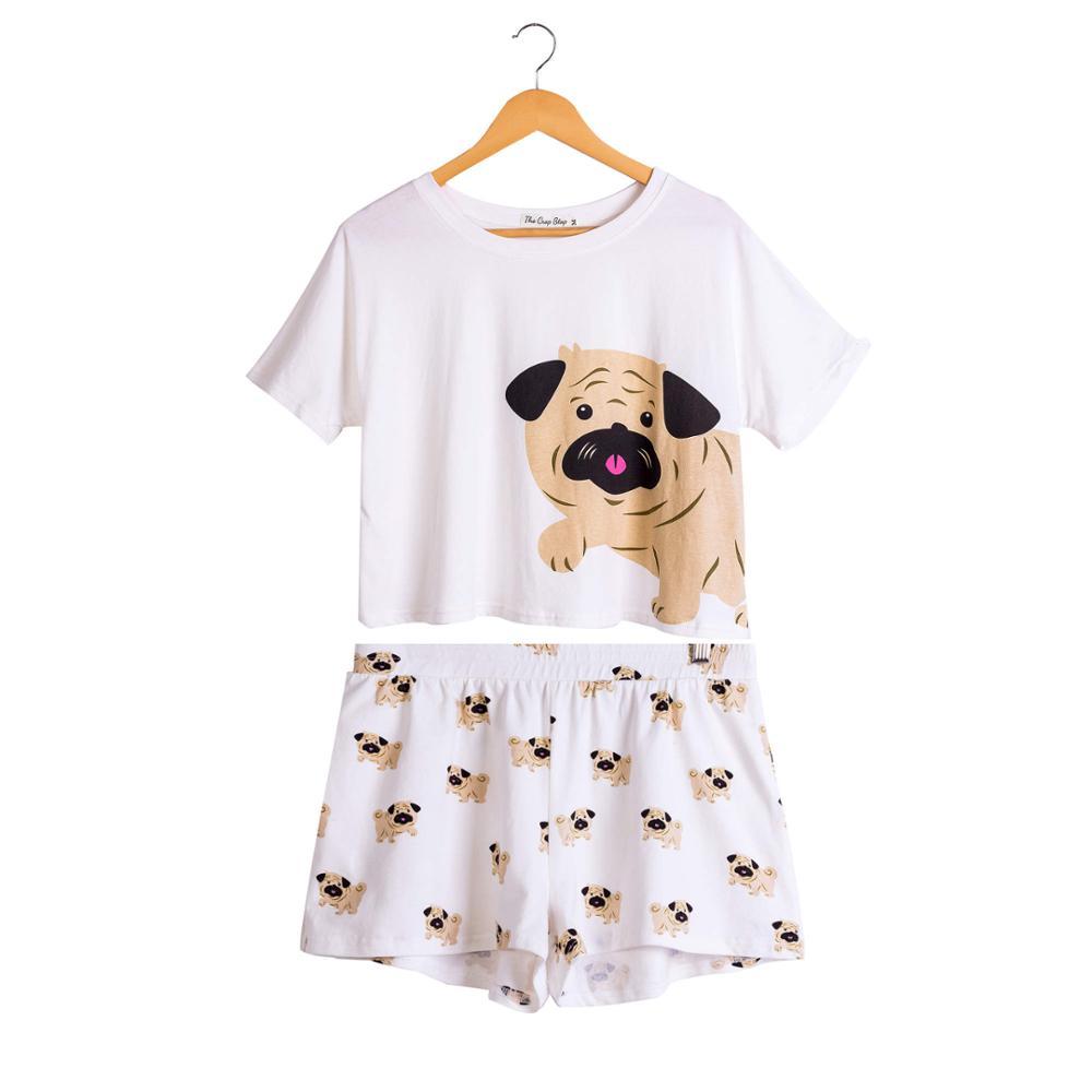 Shorts Stretchy Loose Tops Plus Size Elastic Waist S76301j Beneficial To Essential Medulla Women Corgi/pug Dog Print Sets 2 Pieces Pajama Suits Crop Top Underwear & Sleepwears