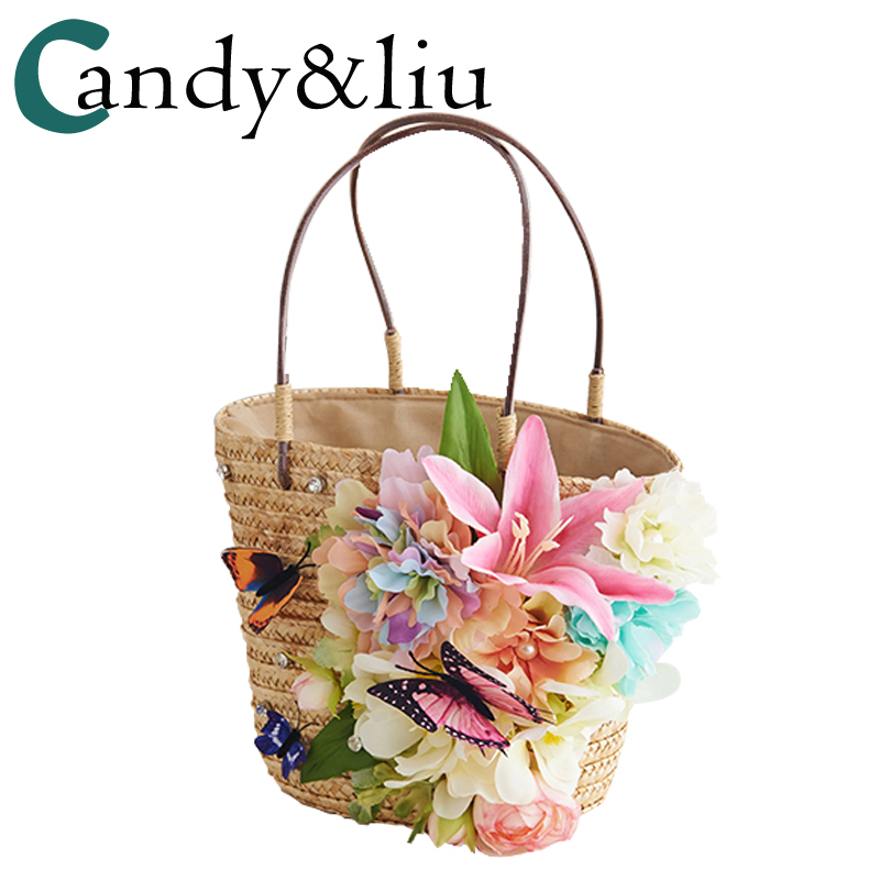 Original shipping flowers summer holiday beach bags bales of straw women rattan bag shoulders butterfly flowers
