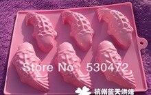 Wholesale/retail,free shipping ,6 holesilicone Cake Mold soap mold fish shape 22.5*16.5*3.5CM