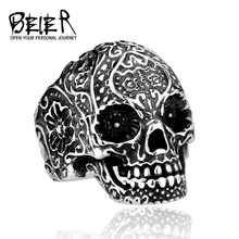 BEIER Wholesale Classic Garden Flower Skull Ring for Man Stainless Steel Man's Punk Style Jewelry Free Shipping BR8-071 US Size