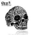 Beier clásico al por mayor jardín de flores cráneo estilo punky de la joyería del anillo para hombre de acero inoxidable hombre br8-071 tamaño ee. uu.