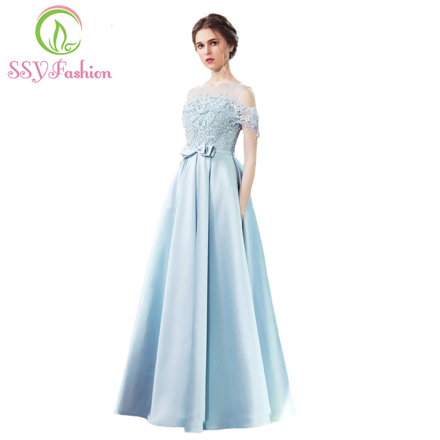 Beliebt Bevorzugt Neue Abendkleider SSYFashion Die Braut Bankett Elegante Hellblau #JF_95