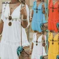 ed003810110 Для женщин летнее платье 2019 плюс Размеры пикантные глубоким v-образным  вырезом повседневное пляжное платье