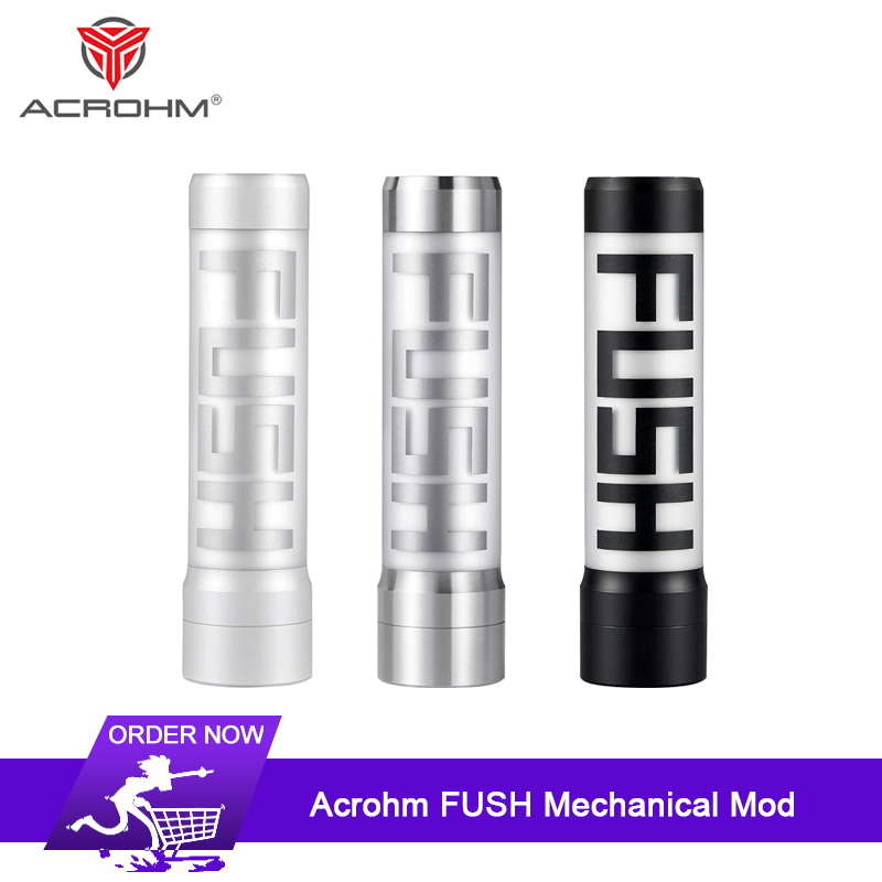 Original Acrohm FUSH Mechanical Mod with Advanced ACE chip 26mm diameter Vape Semi-mech LED Tube Mod Electronic Cigarettes