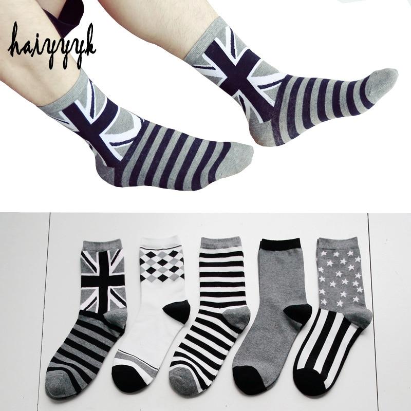 5Pairs / Lot Mens Cotton Socks Fashion Style Casual Anti-Bacterial Breathable Black White Tube Socks Men BQ003