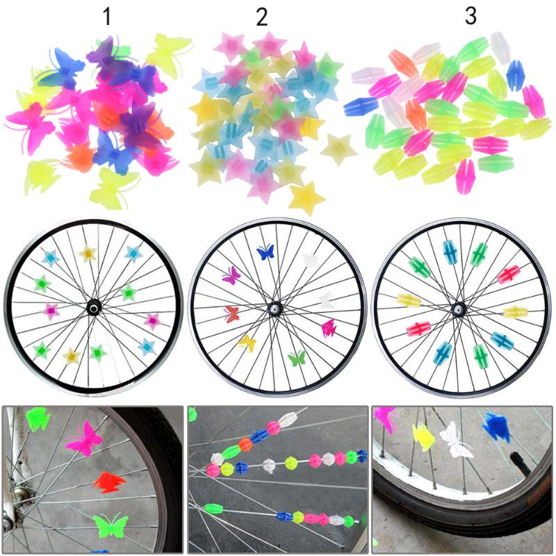 Bicycle Bike Wheel Plastic Spoke Bead Kids Children Clip Colored Decoration US