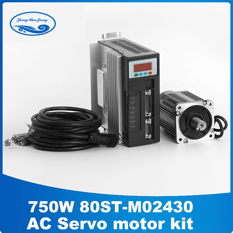 Servo motor 750w Servo motor kit 2.39N.M 750W 3000RPM AC Servo Motor 80ST-M02430 + Driver 57 brushless servomotors dc servo drives ac servo drives engraving machines servo