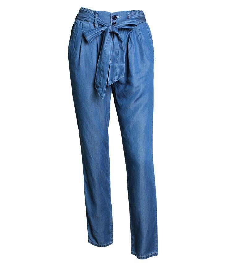 Elegante elegante alta cintura Pantalones Full-longitud con cinturón lápiz  Pantalones perfume sólido elástico moda mujeres azul Pantalones Vaqueros  femme c2fa447dbc2c