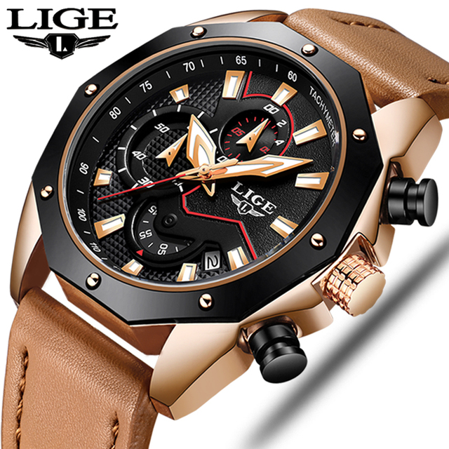 Mens Watches Top Brand Luxury LIGE Men's Military Sports Quartz Watch Men Casual Leather Waterproof Wristwatch Relogio Masculino
