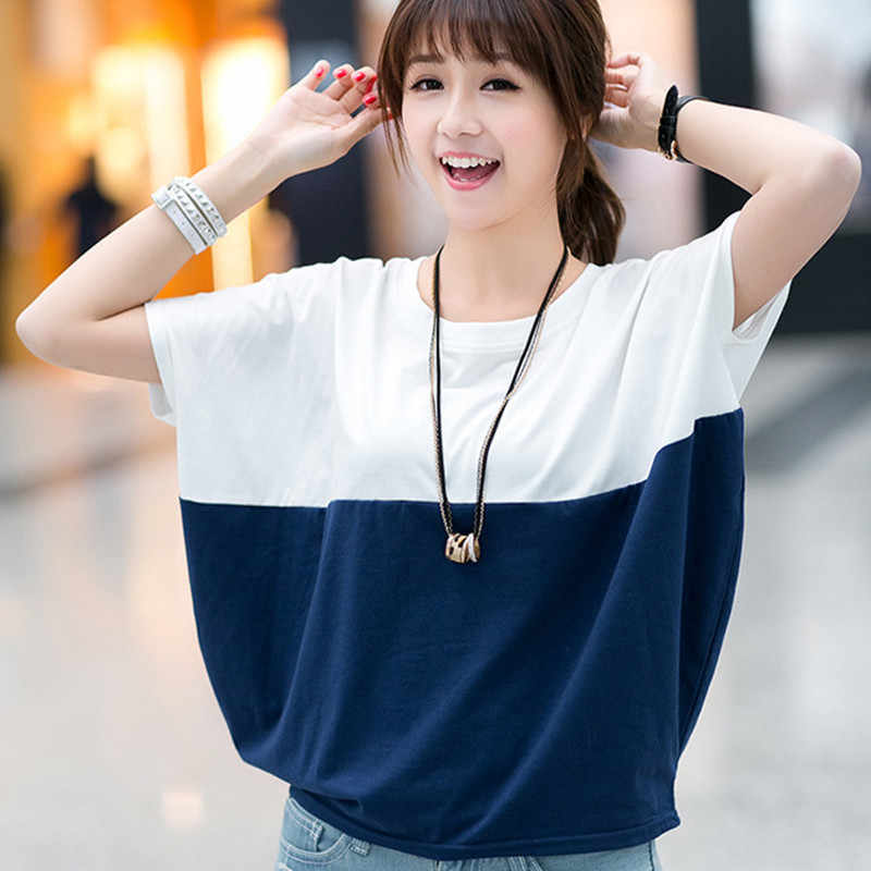 B1214 Han edition 2019 summer big size short sleeve T-shirt women's wear loose batwing students MMT T-shirt cheap wholesale