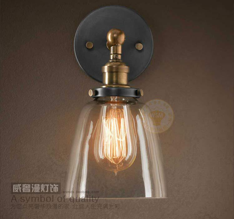 Vintage Industrial Glass Wall Sconces Copper Lamp Holder Bedroom Bedside Flush Mount Light ...