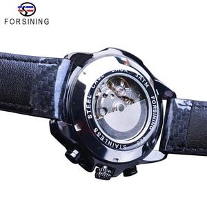 Image 4 - Часы наручные Forsining Мужские автоматические, спортивные блестящие механические с кожаным ремешком, 3 циферблата, дата день