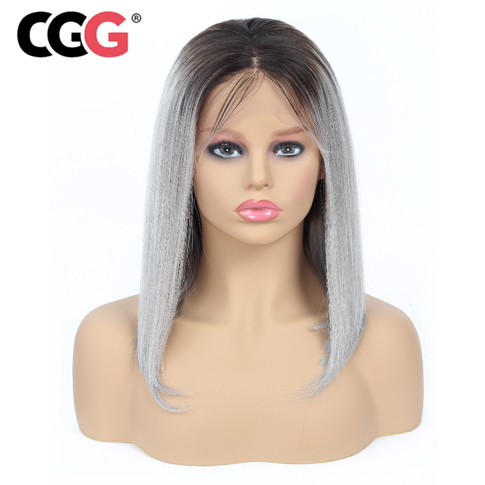 CGG 1b gray Lace Wig Ombre Lace Front Wig 13 4 Pre Plucked Malaysian Straight Hair