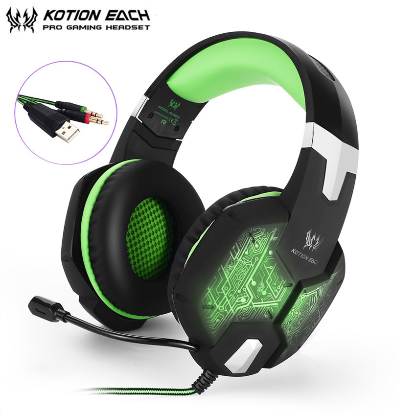 KOTION EACH G1000 Stereo Gaming Headphones Over Ear PC Gamer Headset with Microphone Breathing LED Light for Computer Game kotion each headset gamer professional headphones pc gaming bass stereo noise isolation gaming headset with mic led light g1000