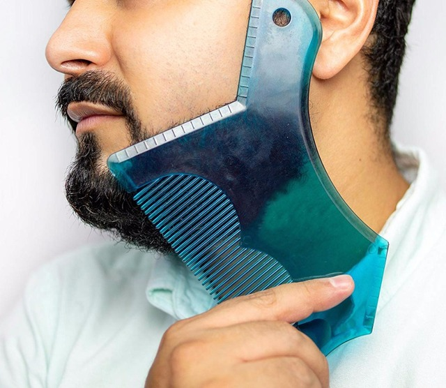 New Design Innovative Beard Trim Shaper Guide Template for Cutting or Stencil Shaping Tool With Full-Size Comb for line Up