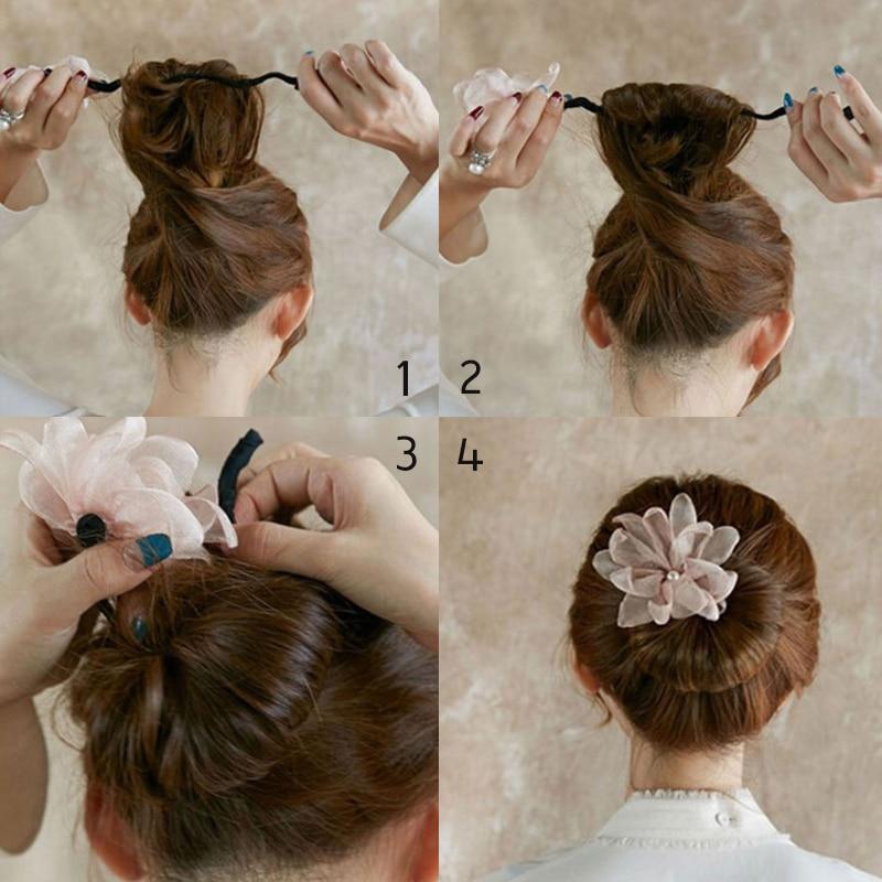 Womens Hair Styling Accessories Headbands Magic DIY Hairstyle Girls Ribbons Hair Bun Maker For Women And Girls Donut Twist Tool Fabric Flower Headband Hair Accessories French Bud Dish