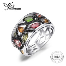 JewelryPalace Fashion 2 3ct Multicolor Genuine Tourmaline Black Spinel Cocktail Rings For Women 925 Sterling Silver
