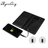 BYCOBECY 2019 New PU Smart Wallet With Iphone And Android Capacity 10000 mAh Creative Wallets USB Charging Unisex For Travel