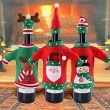 Теплое войлочное покрытие для рождественской винной бутылки Снеговик Санта Клаус лося винные топперы Крышка для рождественской вечеринки украшения год