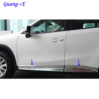 Car styling ABS chrome Side Door Body trim stick Strip Molding Streamer lamp panel 4pcs For Mazda CX 5 CX5 2013 2014 2015 2016