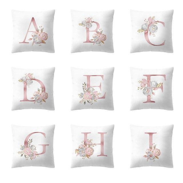 45x45cm Children's room decoration letter pillow cover English Alphabet Cushion Cover Flower kussenhoes housse de coussin