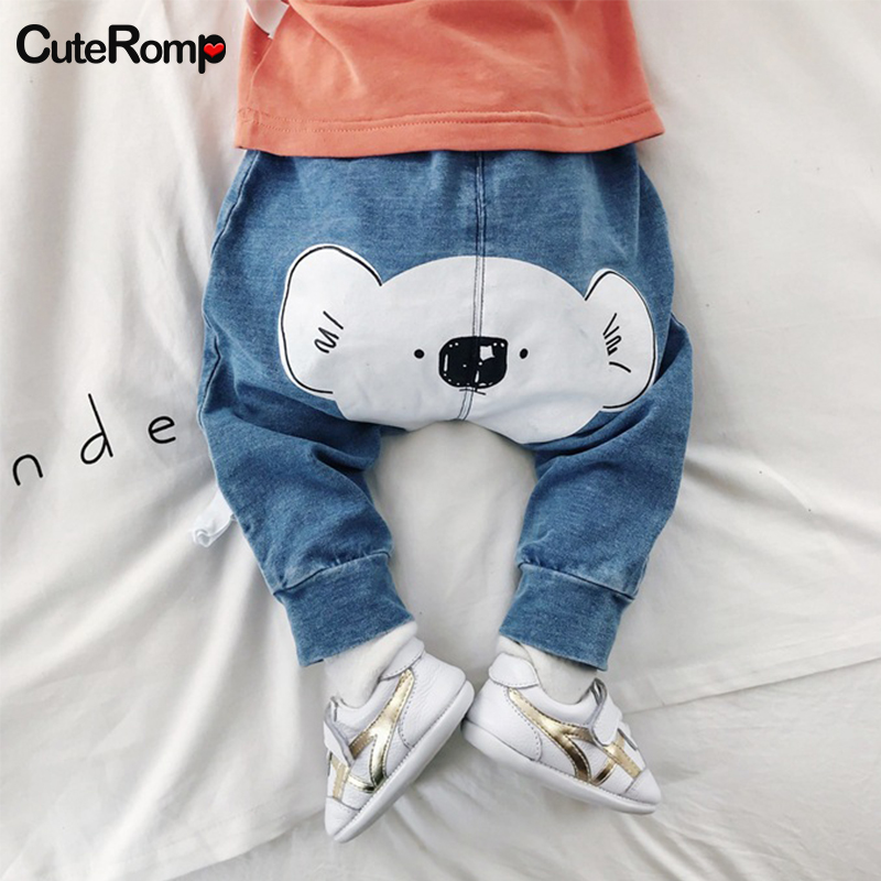 3-24M Baby cartoon Jeans spring Baby Clothes boys girls Denim Trousers Child Jeans girl boy Pants PP Pant For newborn pantalone