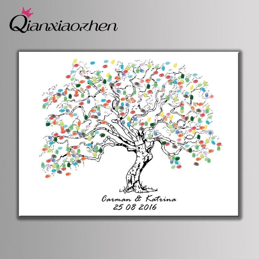Qianxiaozhen персонализированные Дерево отпечатков пальцев Свадебный Гостевая книга Свадебные украшения Mariage gastenboek арбол де huellas Para BODA