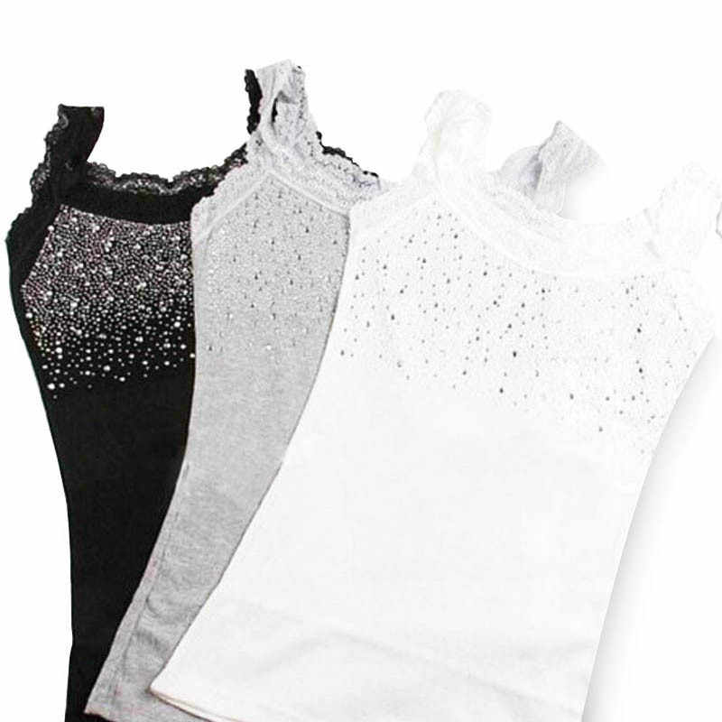 Girl Women's Rhinestone Sequin Lace Tank Top Sling Camisole Vest Slim sleeveless vest casual Female Sexy Loose Solid 2019