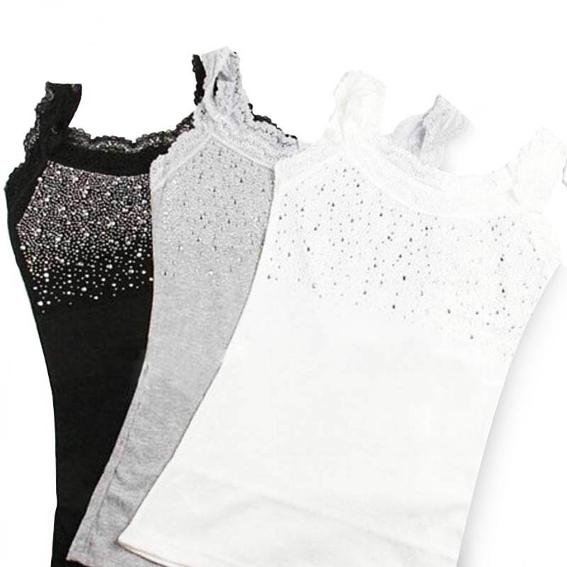 Girl Women's Rhinestone Sequin Lace Tank Top Sling Camisole Vest Slim sleeveless vest casual Female Sexy Loose Solid 2019(China)