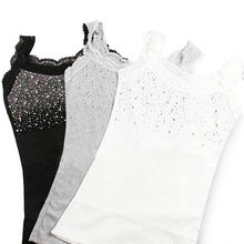 Menina Rhinestone Lantejoula Lace Tanque das Mulheres Top Sling Camisole Colete Fino sem mangas colete casual Feminina Sexy Sólidos a Granel 2019(China)