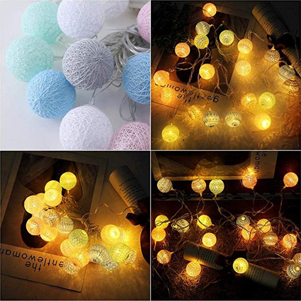 Room Led Garland Cotton String Balls Lights Diy 6cm Cotton Ball Light Chain Fairy Led Lights Birthday Gifts Party Decoration Making Things Convenient For Customers Outdoor Lighting