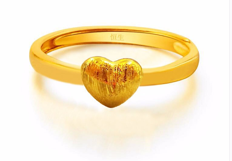 Fashion  Pure 999 24K Yellow gold Heart Ring Can adjustable 2.85g