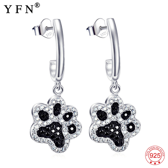 Us 12 47 30 Off 925 Sterling Silver Black White Crystal Cz Cat Dog Paw Print Drop Earrings For Women Fashion Animal Earring Jewelry Gne4926 In