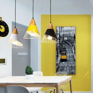 Image 3 - أضواء معلّقة خشبية حديثة مصباح ملون من الحديد مصباح إضاءة لغرفة الطعام مصباح متدلي للإضاءة المنزلية